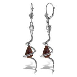 Genuine 6.66 ctw Ruby & Diamond Earrings Jewelry 14KT White Gold - REF-104A3K