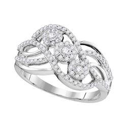 0.50 CTW Diamond Triple Cluster Openwork Strand Ring 14KT White Gold - REF-49K5W