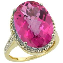 Natural 13.6 ctw Pink-topaz & Diamond Engagement Ring 14K Yellow Gold - REF-75K6R