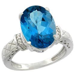 Natural 5.53 ctw London-blue-topaz & Diamond Engagement Ring 14K White Gold - REF-62N2G
