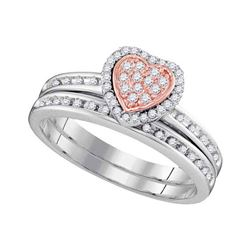 0.25 CTW Diamond Heart Bridal Wedding Engagement Ring 10KT Two-tone Gold - REF-26N9F