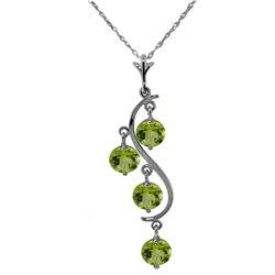 Genuine 2.25 ctw Peridot Necklace Jewelry 14KT White Gold - REF-30F2Z