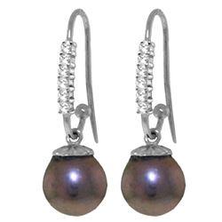 Genuine 8.18 ctw Pearl & Diamond Earrings Jewelry 14KT White Gold - REF-37T6A
