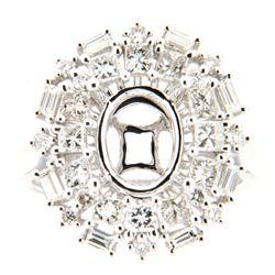 1.42 CTW Diamond Semi Mount Ring 14K White Gold - REF-182W7H