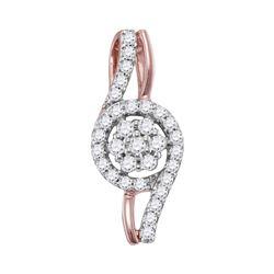 0.30 CTW Diamond Flower Cluster Pendant 10KT Rose Gold - REF-26K3W