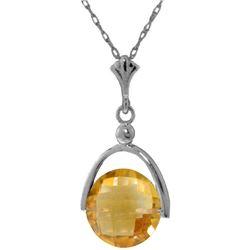 Genuine 3.25 ctw Citrine Necklace Jewelry 14KT White Gold - REF-22V3W
