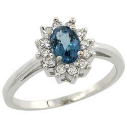 Natural 0.67 ctw London-blue-topaz & Diamond Engagement Ring 10K White Gold - REF-38F9N