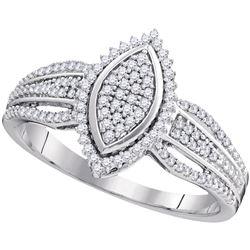 0.25 CTW Diamond Oval Cluster Ring 10KT White Gold - REF-25K4W