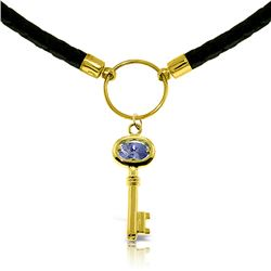 Genuine 0.50 ctw Tanzanite Necklace Jewelry 14KT Yellow Gold - REF-68N9R