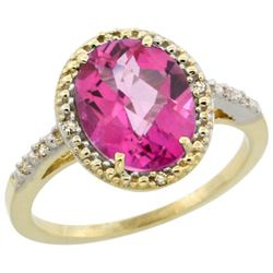 Natural 2.42 ctw Pink-topaz & Diamond Engagement Ring 14K Yellow Gold - REF-34W7K