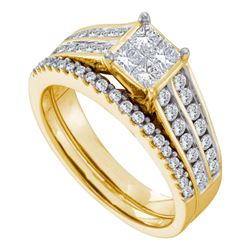 1 CTW Princess Diamond Bridal Engagement Ring 14KT Yellow Gold - REF-132F2N