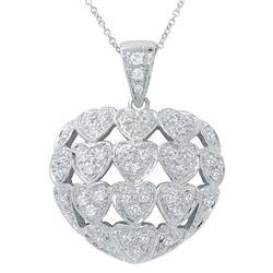 0.84 CTW Diamond Necklace 14K White Gold - REF-101F3N