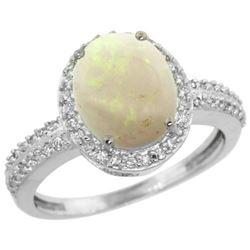 Natural 2.56 ctw Opal & Diamond Engagement Ring 10K White Gold - REF-32G4M