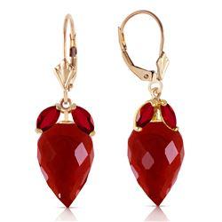 Genuine 27.1 ctw Ruby Earrings Jewelry 14KT Yellow Gold - REF-59F9Z