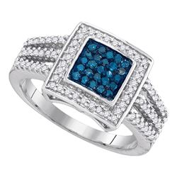 0.50 CTW Blue Color Diamond Square Cluster Open Shank Ring 10KT White Gold - REF-37H5M