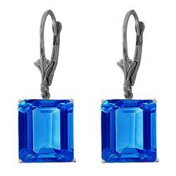 Genuine 13 ctw Blue Topaz Earrings Jewelry 14KT White Gold - REF-54M2T