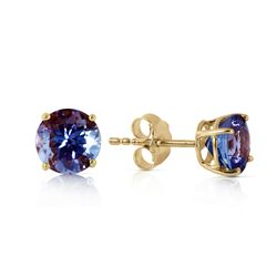 Genuine 0.95 ctw Tanzanite Earrings Jewelry 14KT Yellow Gold - REF-24X5M