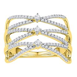 0.50 CTW Diamond Crisscross Crossover Strand Ring 10KT Yellow Gold - REF-37X5Y