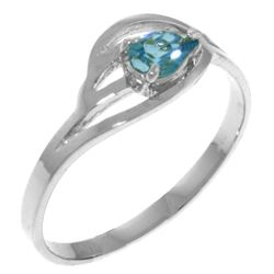 Genuine 0.30 CTW Blue Topaz Ring Jewelry 14KT White Gold - REF-30W5Y