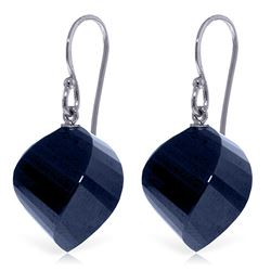 Genuine 30.5 ctw Sapphire Earrings Jewelry 14KT White Gold - REF-39R3P
