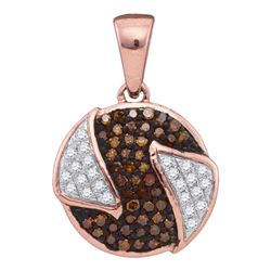 0.16 CTW Red Color Diamond Circle Cluster Pendant 10KT Rose Gold - REF-18X2Y