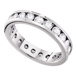 1 CTW Diamond Eternity Wedding Anniversary Ring 14KT White Gold - REF-97N4F