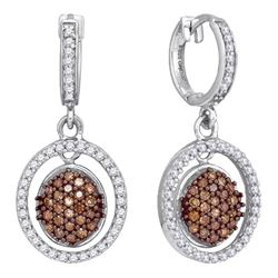 0.75 CTW Cognac-brown Color Diamond Oval Dangle Earrings 10KT White Gold - REF-41H9M