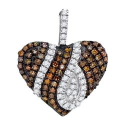 0.33 CTW Cognac-brown Color Diamond Heart Love Pendant 10KT White Gold - REF-22Y4X