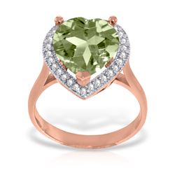 Genuine 3.24 ctw Green Amethyst & Diamond Ring Jewelry 14KT Rose Gold - REF-66T9A