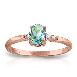 Genuine 0.46 ctw Blue Topaz & Diamond Ring Jewelry 14KT Rose Gold - REF-27R3P