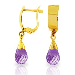 Genuine 2.5 ctw Amethyst Earrings Jewelry 14KT Yellow Gold - REF-22V3W