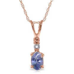 Genuine 0.46 ctw Tanzanite & Diamond Necklace Jewelry 14KT Rose Gold - REF-25V2W