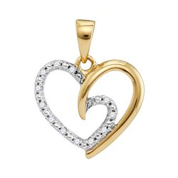 0.10 CTW Diamond Small Heart Love Pendant 10KT Yellow Gold - REF-10K5W