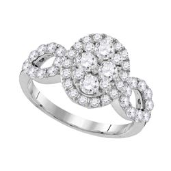 1.72 CTW Diamond Oval Cluster Ring 10KT White Gold - REF-187X3Y