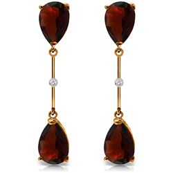 Genuine 6.01 ctw Garnet & Diamond Earrings Jewelry 14KT Rose Gold - REF-42F4Z