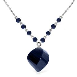 Genuine 16.25 ctw Sapphire Necklace Jewelry 14KT White Gold - REF-46H2X