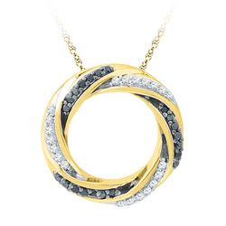 0.25 CTW Black Color Diamond Circle Pendant 10KT Yellow Gold - REF-24K2W