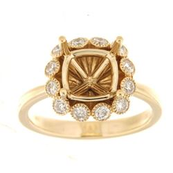 0.52 CTW Diamond Semi Mount Ring 14K Yellow Gold - REF-69K9W