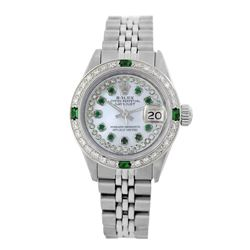 Rolex Pre-owned 26mm Womens Custom String White MOP Stainless Steel - REF-480W4Y