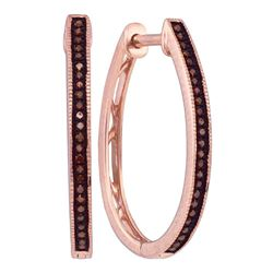 0.15 CTW Red Color Diamond Hoop Earrings 10KT Rose Gold - REF-24H2M