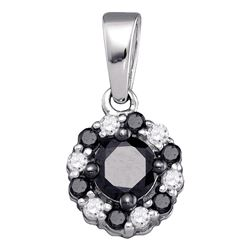 0.51 CTW Black Color Diamond Cluster Pendant 10KT White Gold - REF-14K9W