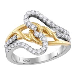 0.50 CTW Diamond Loop Lasso Ring 10KT Two-tone Gold - REF-50F9N