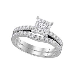 0.88 CTW Princess Diamond Bridal Engagement Ring 14K White Gold - REF-115K4W