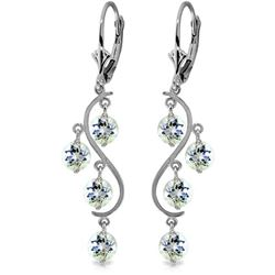 Genuine 4.5 ctw Aquamarine Earrings Jewelry 14KT White Gold - REF-66P2H