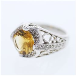 3.79 CTW Citrine & Diamond Ring 18K White Gold - REF-84F2N