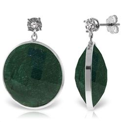Genuine 46.06 ctw Green Sapphire Corundum & Diamond Earrings Jewelry 14KT White Gold - REF-68Y8F