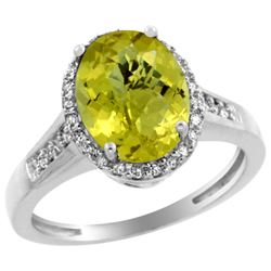 Natural 2.49 ctw Lemon-quartz & Diamond Engagement Ring 14K White Gold - REF-41A2V