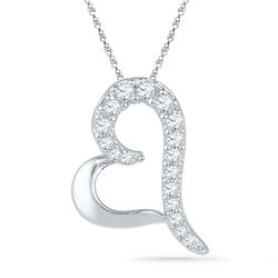 0.08 CTW Diamond Heart Love Pendant 10KT White Gold - REF-7Y4X
