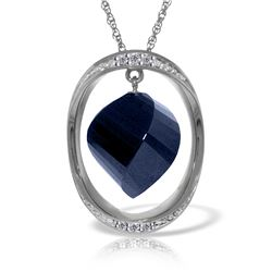 Genuine 15.35 ctw Sapphire & Diamond Necklace Jewelry 14KT White Gold - REF-124K2V