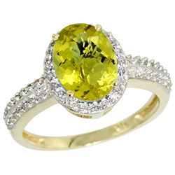 Natural 1.91 ctw Lemon-quartz & Diamond Engagement Ring 14K Yellow Gold - REF-40K5R